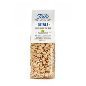 Pasta secca ditali biologici con grano duro saragolla macinato a pietra