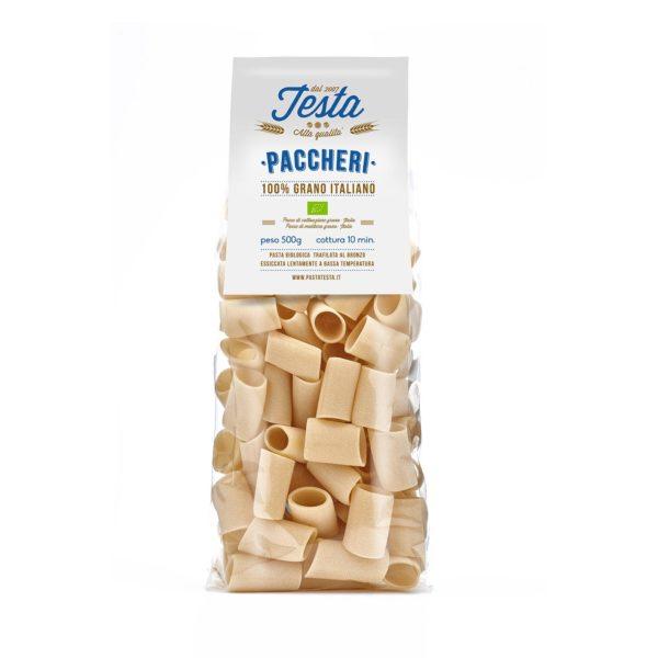 Pasta secca paccheri biologici con grano duro saragolla macinato a pietra